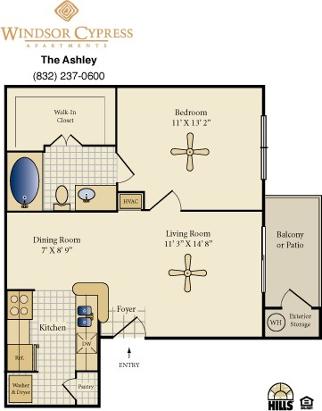 625 sq. ft. Ashley floor plan