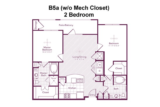 1,106 sq. ft. to 1,124 sq. ft. MANDELL floor plan