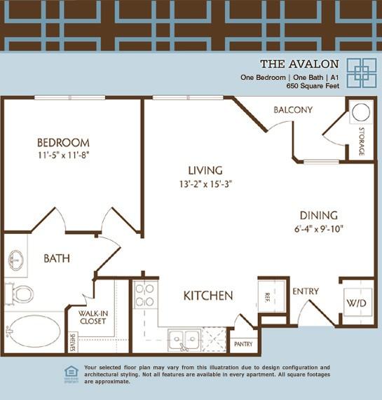 650 sq. ft. A1/AVALON floor plan