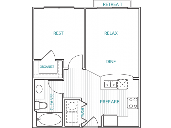 557 sq. ft. A floor plan