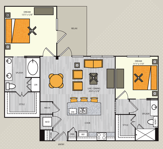 1,087 sq. ft. B3.1 floor plan