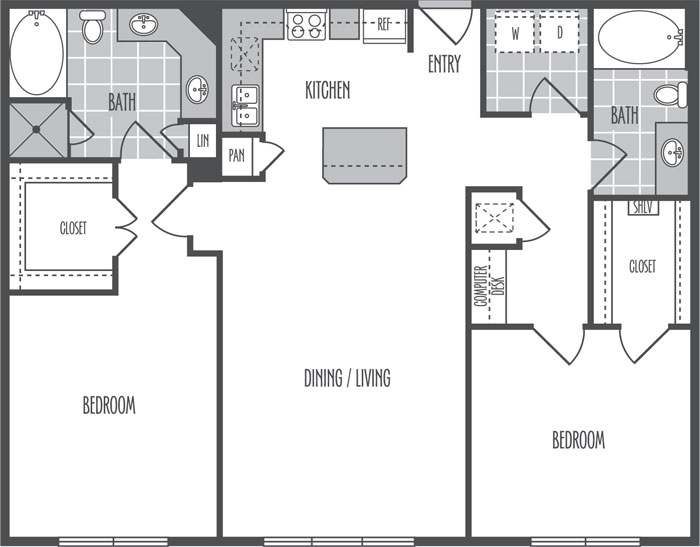 1,222 sq. ft. K floor plan