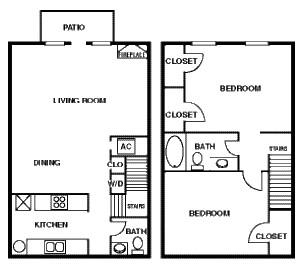 1,075 sq. ft. 50% floor plan
