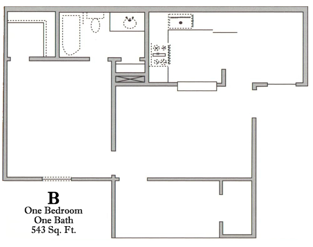 543 sq. ft. B/50 floor plan