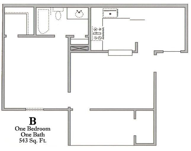 543 sq. ft. B/50% floor plan