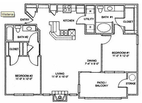 1,060 sq. ft. B2 floor plan