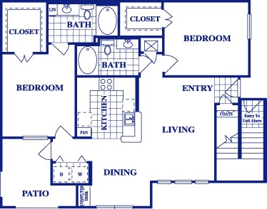 1,104 sq. ft. B2 floor plan