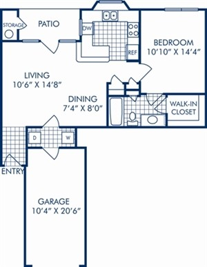 727 sq. ft. A2BR floor plan