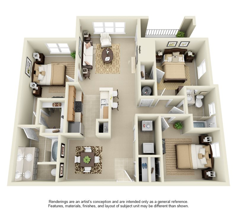 1,292 sq. ft. C1 floor plan