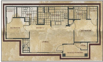 917 sq. ft. Monarch floor plan