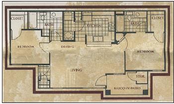 917 sq. ft. Monarch floor plan