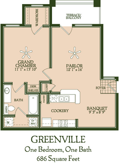 686 sq. ft. Greensville floor plan