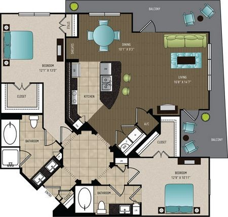 1,381 sq. ft. B4A floor plan