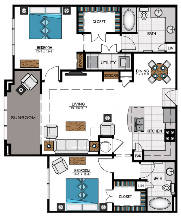 1,319 sq. ft. B4B floor plan