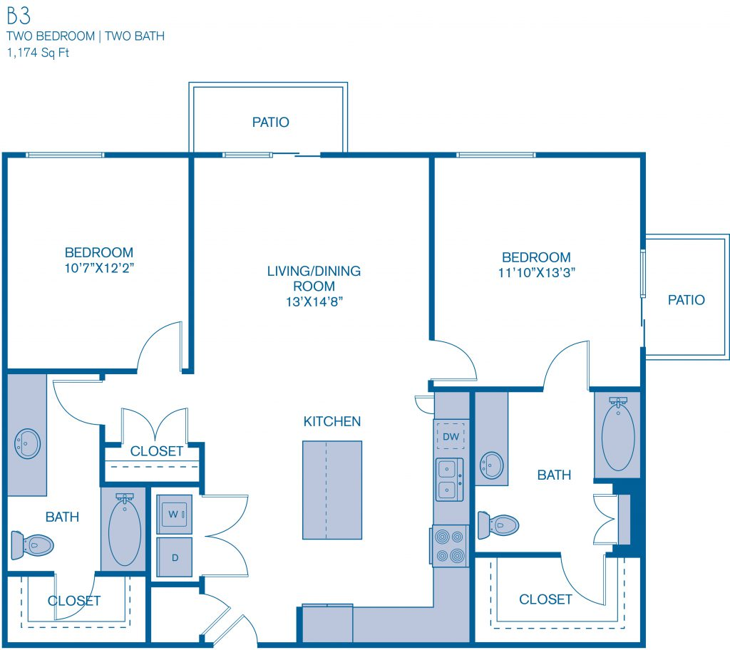 1,174 sq. ft. B3 floor plan
