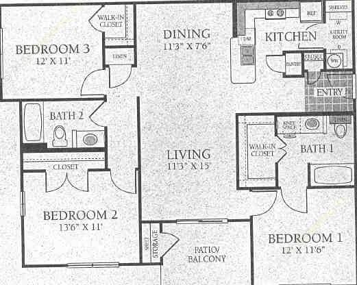 1,244 sq. ft. C1 floor plan