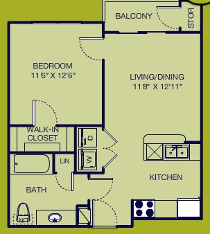 600 sq. ft. 1/1 HC floor plan