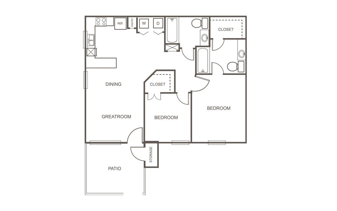 916 sq. ft. MKT floor plan