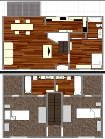1,401 sq. ft. C2 floor plan