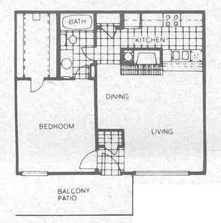 662 sq. ft. A3 floor plan
