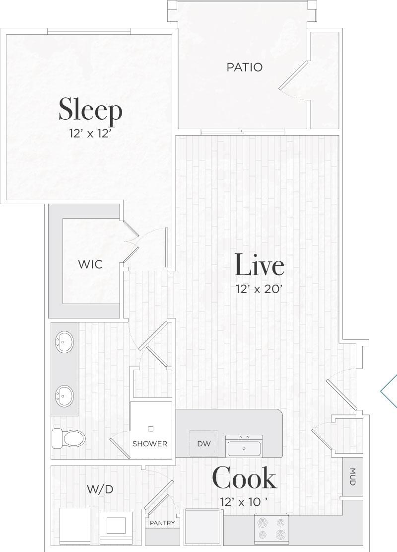 803 sq. ft. Lorenzo II floor plan