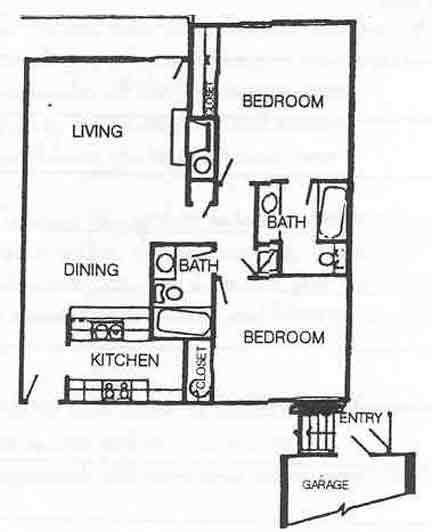 984 sq. ft. B-1 floor plan
