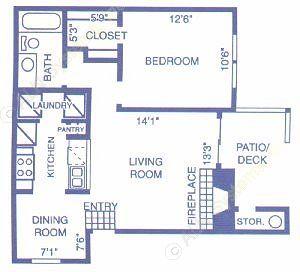 657 sq. ft. MESQUITE floor plan