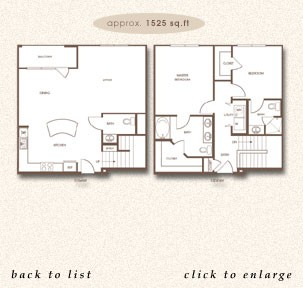 1,525 sq. ft. TH B floor plan
