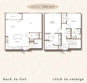 1,525 sq. ft. TH B floor plan