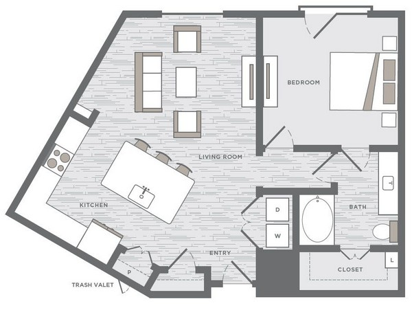 886 sq. ft. A6 floor plan