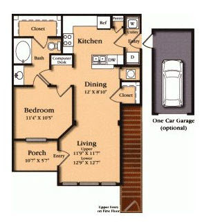 854 sq. ft. A5 floor plan