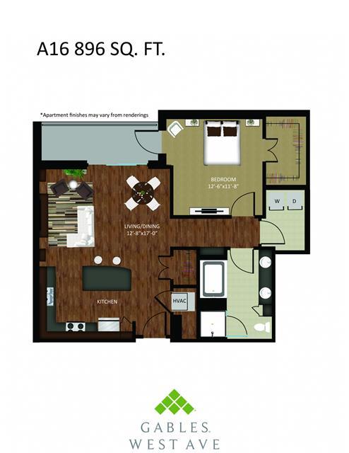 896 sq. ft. DA16 floor plan