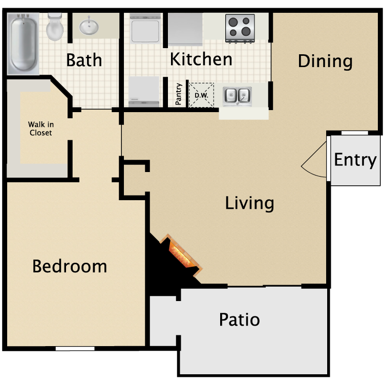 671 sq. ft. B1/B2 floor plan
