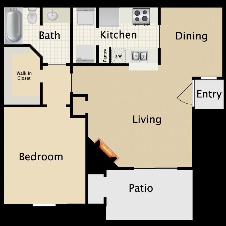 671 sq. ft. B1/B2 floor plan