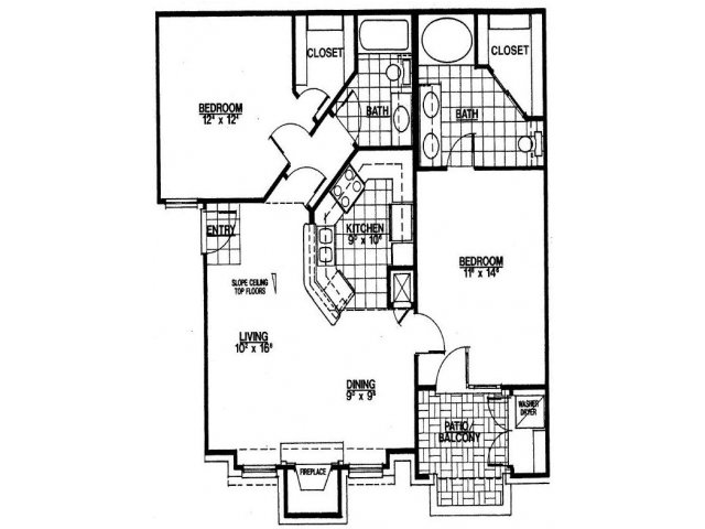 973 sq. ft. B1 floor plan