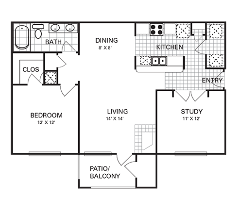 926 sq. ft. A4 PH I floor plan