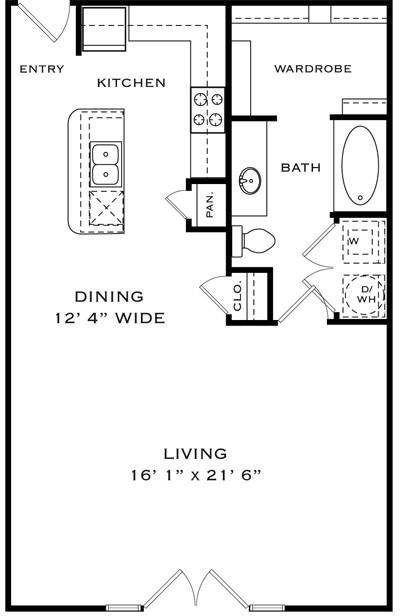 798 sq. ft. LA1X floor plan
