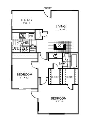 889 sq. ft. Seattle floor plan