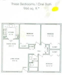 966 sq. ft. ABP floor plan