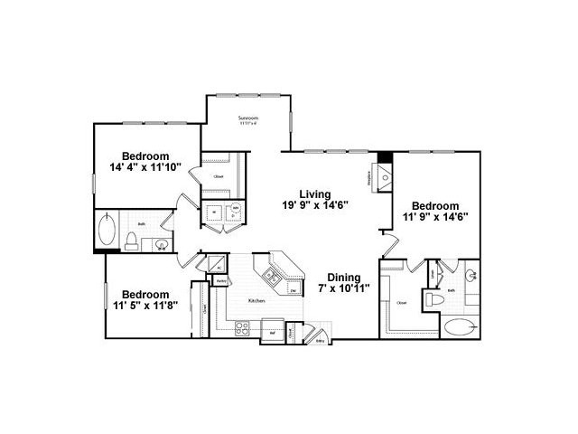 1,323 sq. ft. C1G floor plan