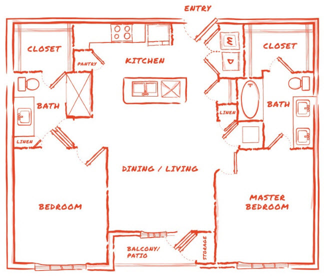 1,059 sq. ft. B1 floor plan