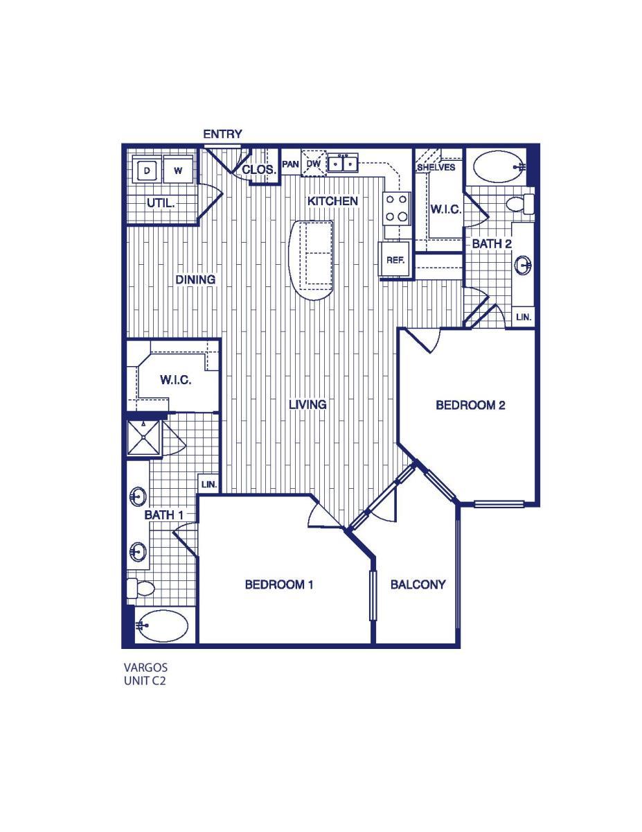 1,225 sq. ft. C2 floor plan