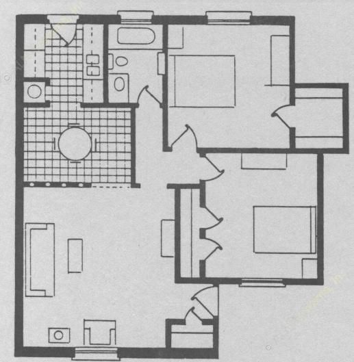 896 sq. ft. floor plan
