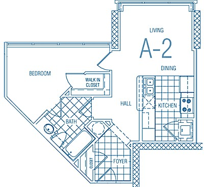 549 sq. ft. A2 30% floor plan