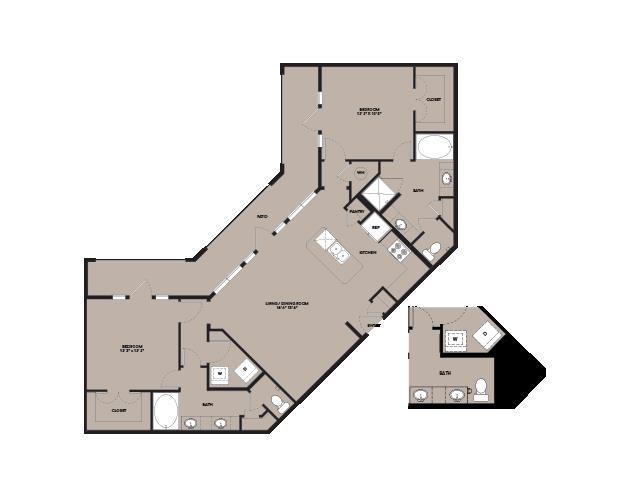 1,287 sq. ft. B4.1 floor plan