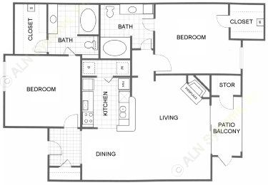 1,041 sq. ft. B1 floor plan
