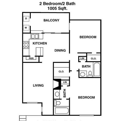 1,005 sq. ft. I floor plan