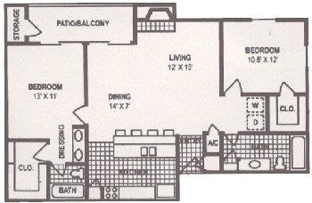 1,096 sq. ft. floor plan