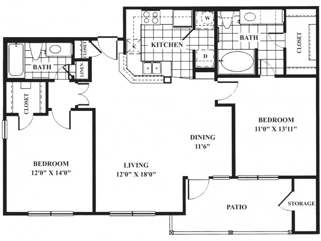 1,045 sq. ft. B2/La Tour floor plan