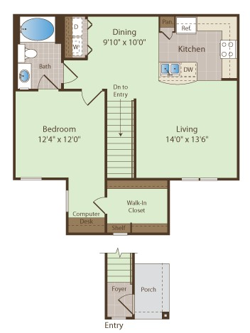 870 sq. ft. NELSON floor plan